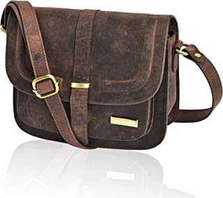 Leather Crossbody Bags For Women - Crossover Purse Over The Shoulder Womens Purses and Handbags Travel Saddle Bag