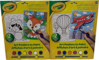 Crayola Paint Your Own Poster Set of Two Art Posters Textured Paper Paint Paint Brush Bundle Two Packs Airplane Hot Air Balloon Fox Raccoon Let Little Ones Create Paintings to Display!