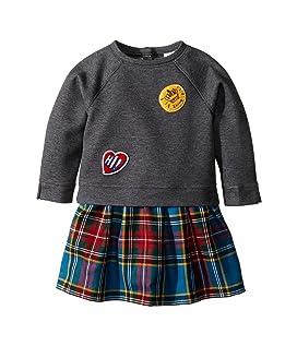 Mini Francine Sweater Top Check Skirt Dress (Infant/Toddler)