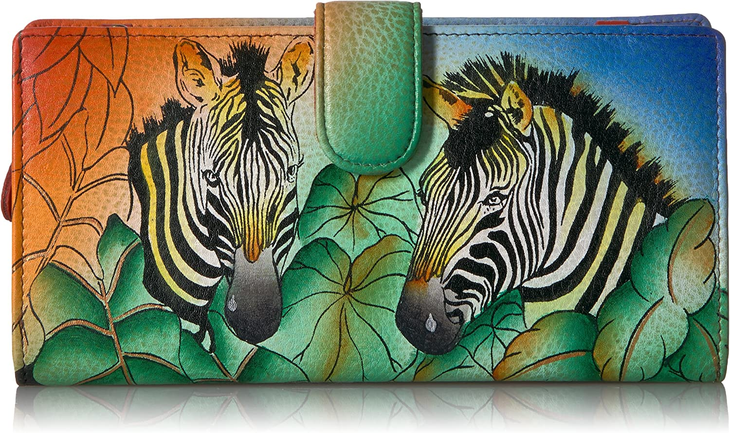 ANNA by Anuschka Hand Painted BiFold Wallet With Strap