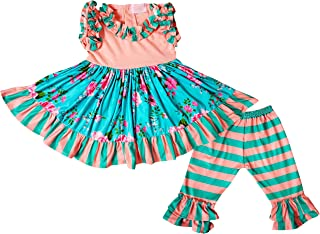 Baby Toddler 女童春夏荷叶边上衣七分裤套装,2 件套针织玩耍服