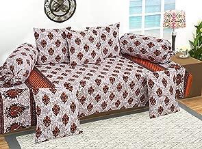 Kuber Industries Leaf Design 8 Piece Cotton Diwan Set, Cream and Orange - CTKTC21847