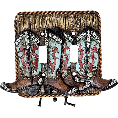 Rainbow Trading Ra 4781 Western Turquoise Boot Decorative Double Switch Plate Cover