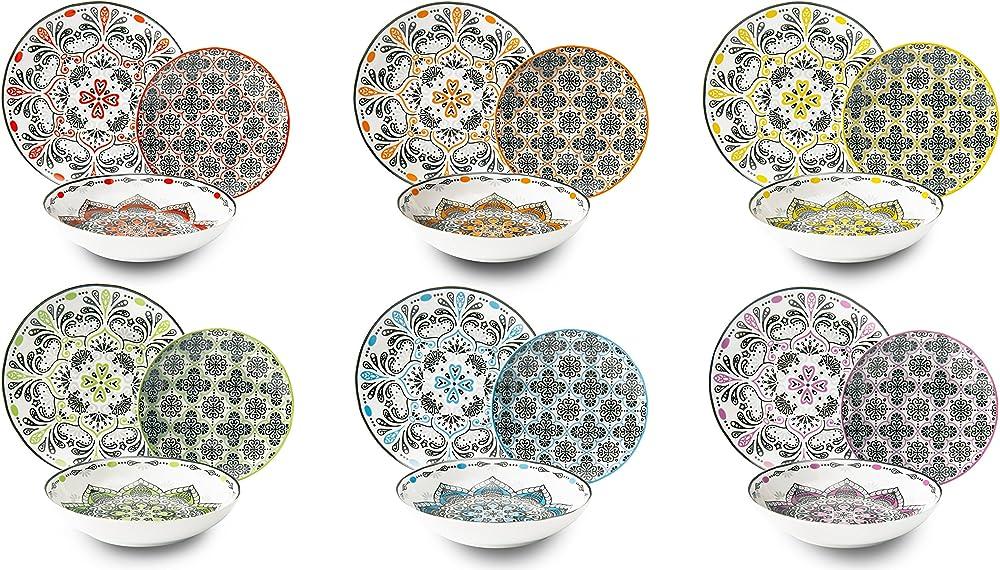 Excelsa roma , servizio di piatti 18 pezzi, in porcellana  multicolore 62494