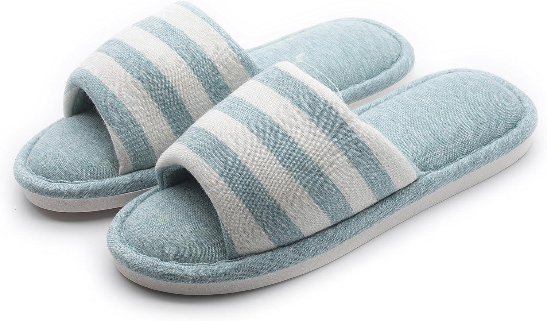 Y-Nut Linen Cotton Winter Indoor Slipper, Men Women Couple Indoor Warm Soft Clog Open Toe bluee Stripe TX01-blueE