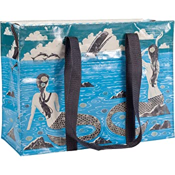 """Blue Q Shoulder Tote, Mermaid. The carry-everywhere bag that features a hefty zipper, exterior pocket, wrap-around straps, reinforced floor. Made from 95% recycled material, 11""""h x 15""""w x 6.25""""d"""