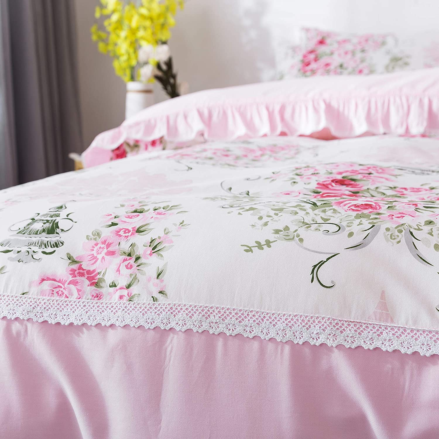 FADFAY Shabby Rose Floral Duvet Cover Pink Plaid Girls Bedding Set100/% Cotton Hypoallergenic Bed Sheet Set,5Pcs Twin XL Size 1 Duvet Cover +1 Fitted Sheet+ 1 Flat Sheet +2 Standard Pillowcases