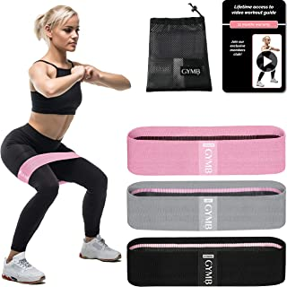 Booty 3 Resistance Bands for Legs and Butt Set, Exercise Bands Fitness Bands - Video Workout, Resistance Loops Hip Thigh Glute Bands Non Slip Fabric, Elastic Strength Squat Band Beginner-Professional