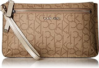 Calvin Klein womens H4AGJ1WA-W Calvin Klein Key Item Top Zip Monogram Wristlet Clutch