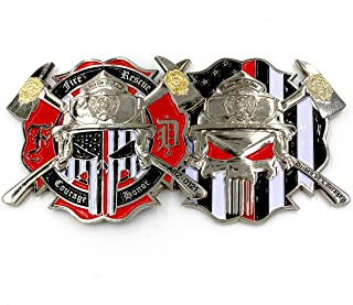 AIIZ Collectibles �Thin Red Line - Red Lives Matter� Punisher Fire Department and Rescue, �Men of Fire� Cross of Saint Florian, Patron Saint of Firefighters Challenge Coin with Unique Serial Numbers