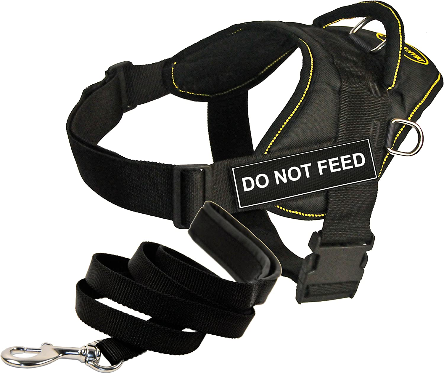 Dean & Tyler Bundle One DT Fun Works Harness, Do Not Feed, Yellow Trim, Small (22Inch, 27Inch) + One Padded Puppy Leash, 6Feet Stainless Snap, Black