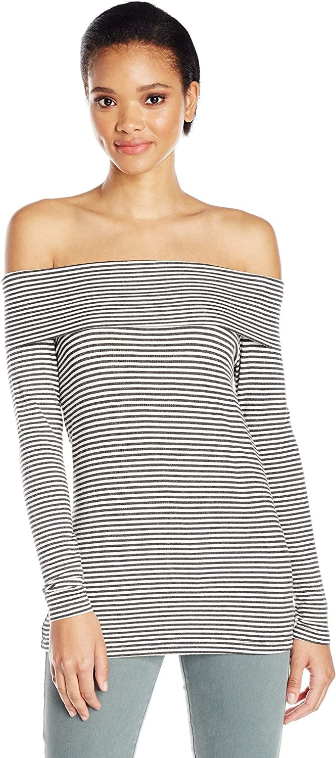 Three Dots Womens Stripe Off Shoulder French Terry Tee TShirt