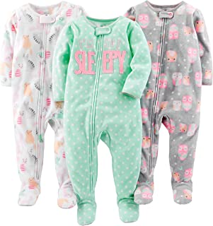 Baby and Toddler Girls' 3-Pack Loose Fit Fleece Footed Pajamas