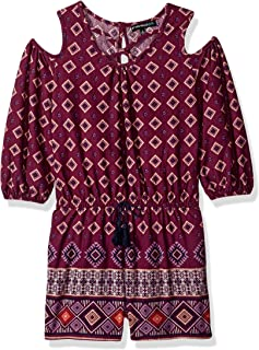 3a18e126bd1 My Michelle Girls  Big Cold Shoulder Multi Print Romper with Criss Cross  Front