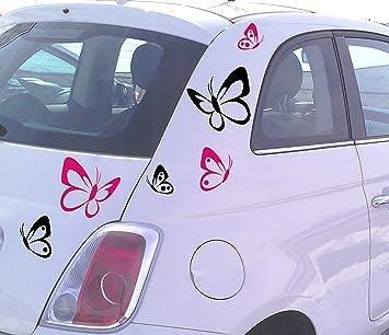 Autoaufkleber Schmetterlinge 6 Stück 3x Links 3xgespiegelt 4 Stück Gratis Ein Highlight Für Den Sommer Pink Auto