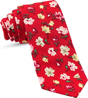 Floral Cotton Ties For Men Skinny Tie Mens Slim Ties : Hawaiian Flowers Necktie