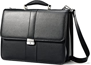 Samsonite Leather Flapover Briefcase, Black, One Size