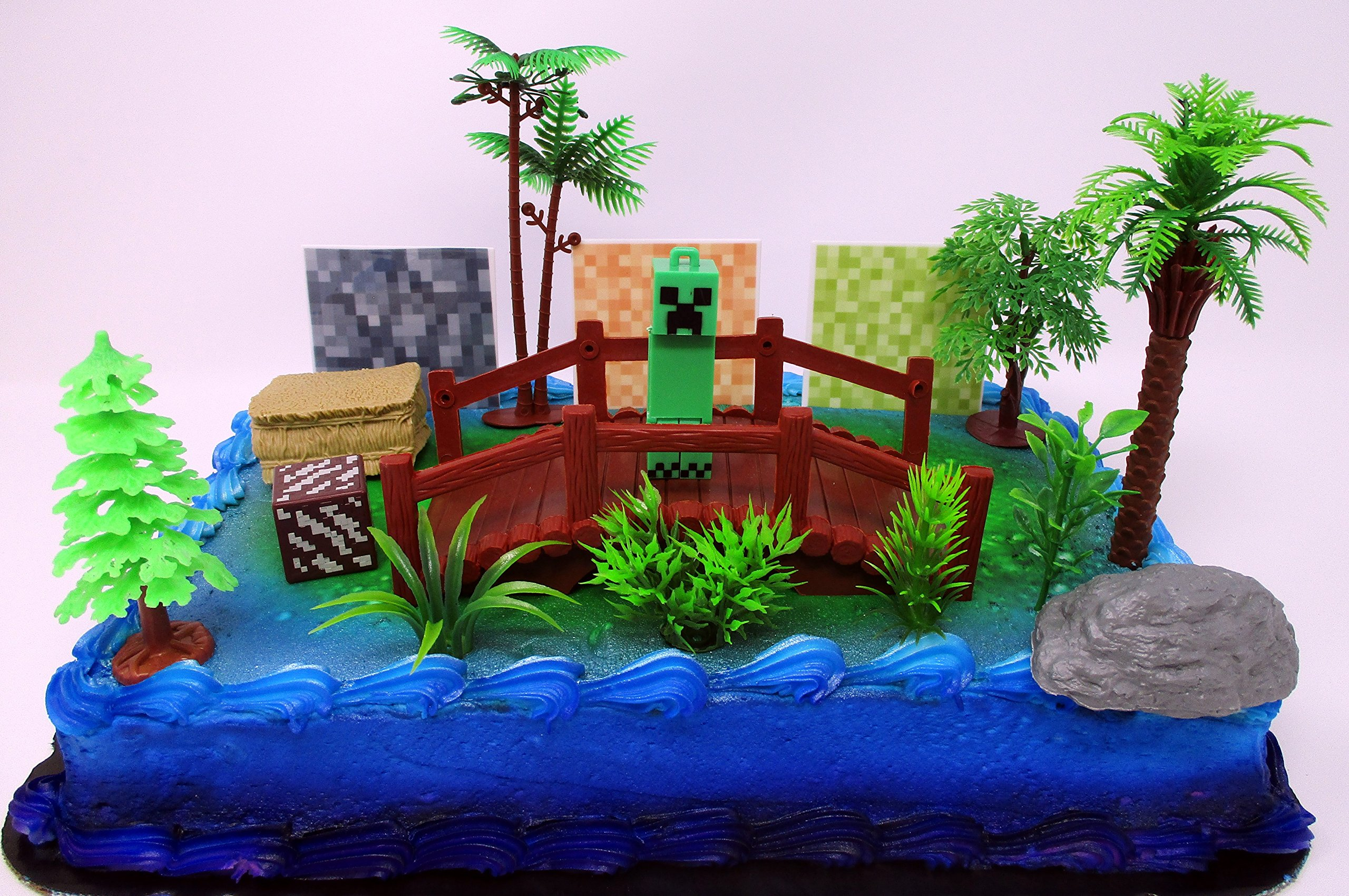 Minecraft Creeper Themed Birthday Cake Topper Set Featuring