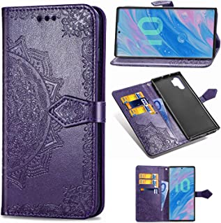for Samsung Galaxy Note 8 Phone case,PU Leather Wallet Embossed Mandala Floral Flowers Case Flip Cover Card Holder with Magnetic Closure (Purple, Galaxy Note 8)