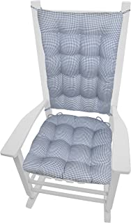Madrid Dark Blue Rocking Chair Cushions - Extra-Large - Latex Foam Fill Rocker Seat & Backrest Cushion with Ties - Reversible, Machine Washable, Made in USA, 100% Cotton ( XL Navy White Gingham )