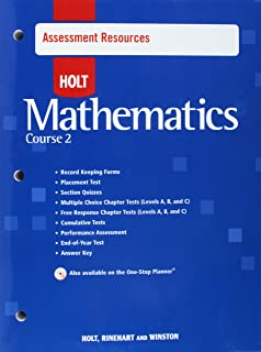 Holt Mathematics Course 2: Assessment Resources with Answer Key