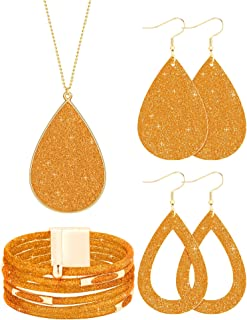 4 Pieces Women's Glitter Jewelry Set Bridal Wedding Multi-Layer Bracelet Faux Leather Dangle Earrings Necklace