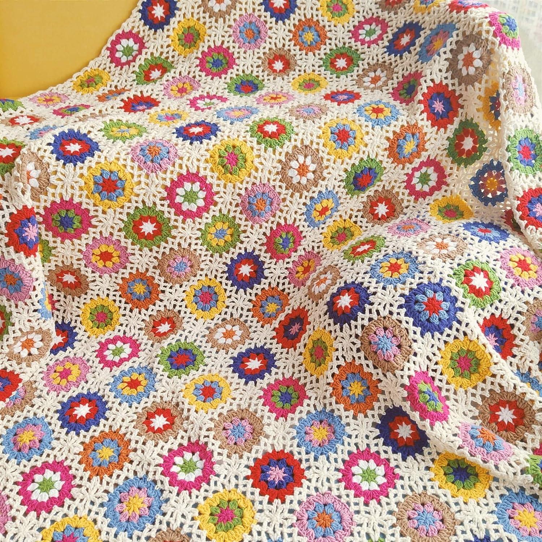 Spasm price Handmade Daisy Max 68% OFF Crochet Throw Blanket Table Gr Sofa Cloth Mat Rug