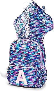Justice Girls Unicorn Flip Sequin Initial Hooded Backpack Purpline (Letter S)
