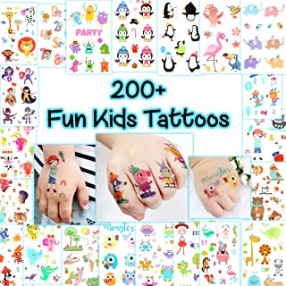Kid's Fun Temporary Tattoos - More Than 200 Animal-Themed Easy-to-Use Tattoos for Children (21 Sheets)