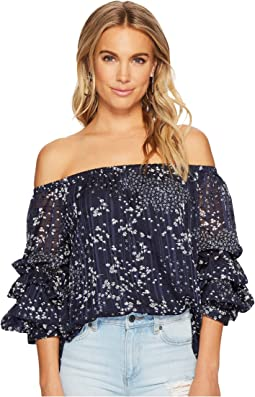 Off Shoulder Pintuck Sleeve Blouse