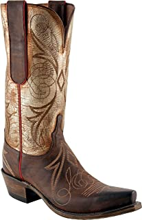 Women's Lucchese1883 N 4701.S54 Cowboy Western Boots,Chocolate Burnished Leather Buffalo