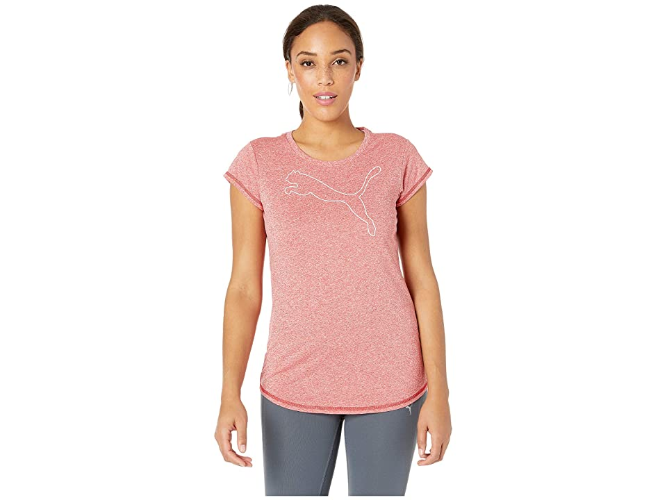 PUMA Active Logo Heather Tee (Ribbon Red Heather) Women