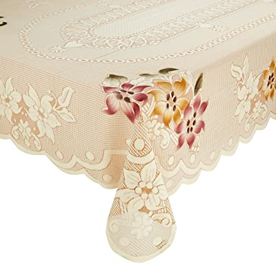 Amazon Brand - Solimo Dining Table Cover, Floral, Brown