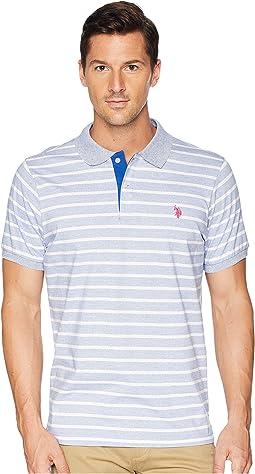 Marled Stripe Jersey Polo Shirt