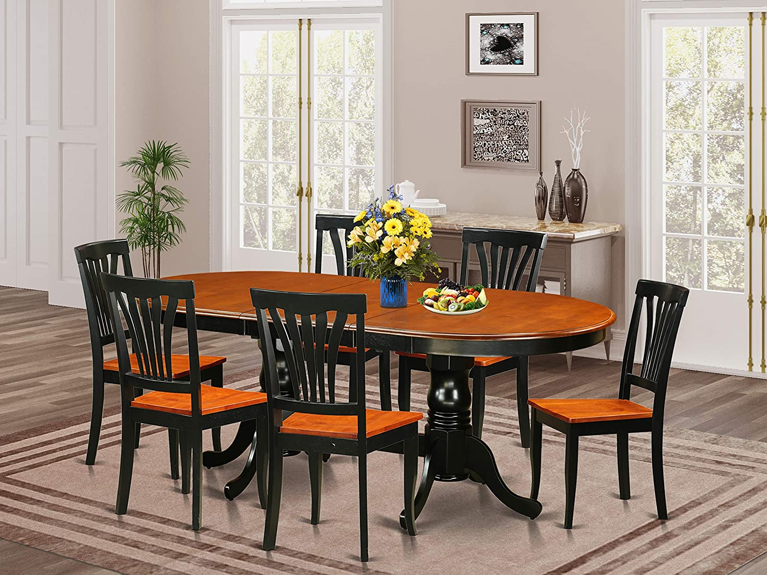 Amazon.com 9 PC Dining room set Dining Table with 9 Dining Chairs ...