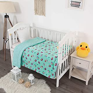 MB Home Linen Kids Soft & Warm Sherpa Baby Toddler Boy Sherpa Blanket (Turquoise Owl)