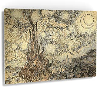 Smile Art Design Vincent Van Gogh Cypresses in Starry Night, a Reed Pen Drawing 1889 Metal Print Metal Wall Decor Living Room Kitchen Reproduction Modern Art Ready to Hang Made in USA 16x24