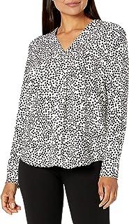 Amazon Brand - Lark & Ro Women's Long Sleeve V-Neck Pull Over Tunic Top