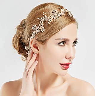 BABEYOND Crystal Wedding Headpiece Hair Vine Bridal Headband Bridesmaid Hairband Crystal Floral Leaf Forehead Band with Lace Ribbon Gold