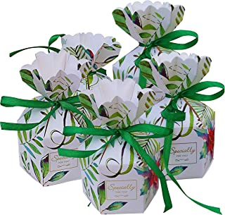 Lontenrea 50 Pcs Leaf Pattern Six-Sided Vase-Shaped Candy Boxes Wedding Birthday Party Favor with Green Ribbon Decoration (Green Leaves)
