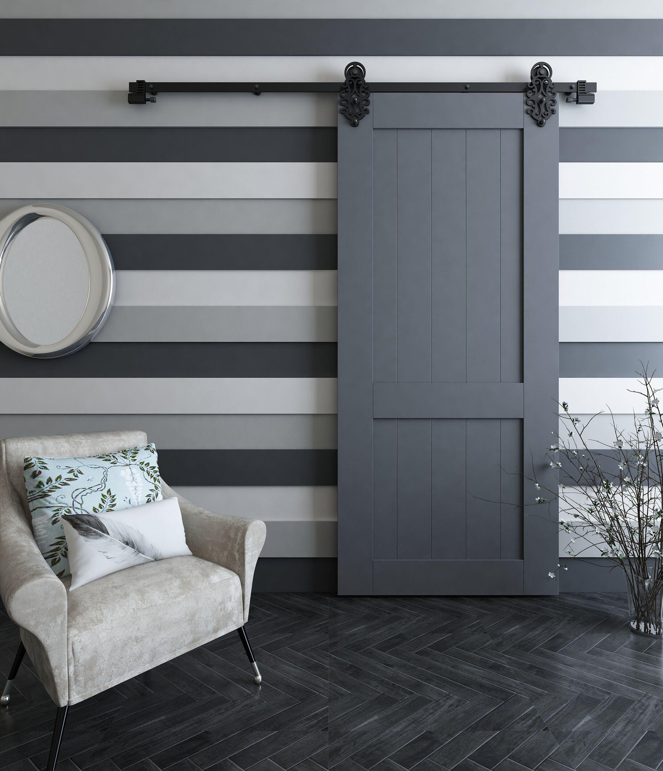DIYHD - Soporte de hierro para puerta corredera, color negro: Amazon.es: Bricolaje y herramientas