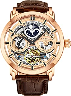 Original Mens Automatic-Self-Wind Luxury Dress Skeleton Dual Time Rose Gold Wrist-Watch 22 Jewels 47 mm Stainless Steel Case Decorative Exposed Back Embossed Supple Genuine Leather Strap …