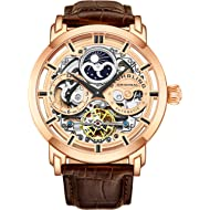 Stührling Original Mens Watch Stainless Steel Automatic, Skeleton Dial, Dual Time, AM/PM Sun...