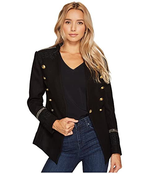 ROMEO & JULIET COUTURE Military Jacket With Shoulder Patch, Black