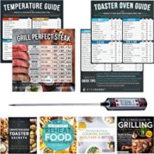 Toaster Oven Accessories | Cook Times Cheat Sheet Magnets, Cookbooks, Temperature Cooking Guide Chart, Food Thermometer Compatible with Breville, Cuisinart, Oster, Hamilton Beach, Kitchenaid +More