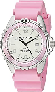 Women's Quartz Watch | M1 Splash by Momentum| Stainless Steel Watches for Women | Dive Watch with Japanese Movement & Analog Display | Water Resistant Ladies Watch with Date -Lume/Pink Rubber