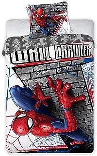 Faro - Juego de Cama Spider Man Wall Crawler Funda nórdica y Funda de Almohada de algodón 160 x 200cm + Funda de Almohada 70 x 80cm - Multicolor