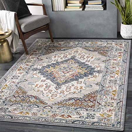 Amazon Com Artistic Weavers Anja Oriental Medallion Area Rug 7 10 X 10 3 Grey Furniture Decor