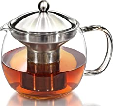 Teapot Kettle with Warmer - Tea Pot and Tea Infuser Set - Glass Tea Maker Infusers Holds 3-4 Cups Loose Leaf Iced Blooming or Flowering Tea Filter- Teapots Kettles Tea Strainer Steeper Tea Pots