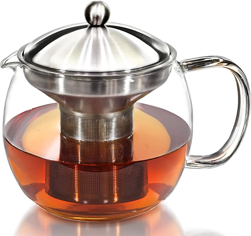 Teapot Kettle With Warmer Tea Pot And Tea Infuser Set Glass Tea Maker Infusers Holds 3 4 Cups Loose Leaf Iced Blooming Or Flowering Tea Filter Teapots Kettles Tea Strainer Steeper Tea Pots